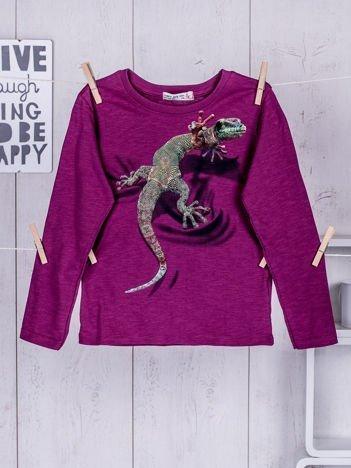 Fioletowa bluzka dziecięca z nadrukiem kolorowej jaszczurki
