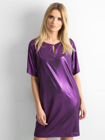 Fioletowa błyszcząca sukienka oversize
