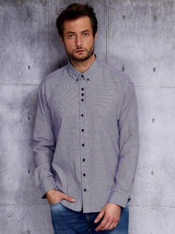 Fioletowa koszula męska w drobną kratkę PLUS SIZE