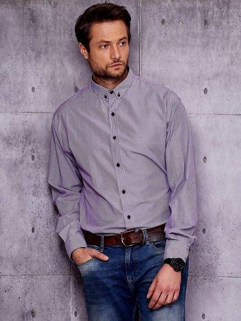 Fioletowa koszula męska w paski PLUS SIZE