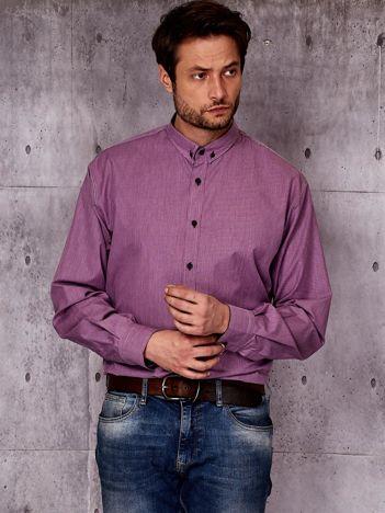 Fioletowa koszula męska w prążek PLUS SIZE