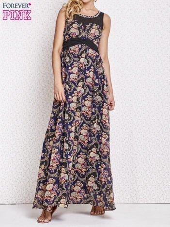 Fioletowa kwiatowa sukienka maxi z biżuteryjnym dekoltem