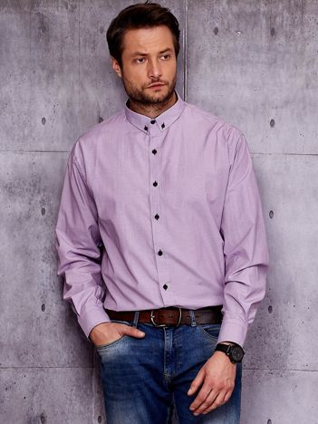 Fioletowa prążkowana koszula męska PLUS SIZE