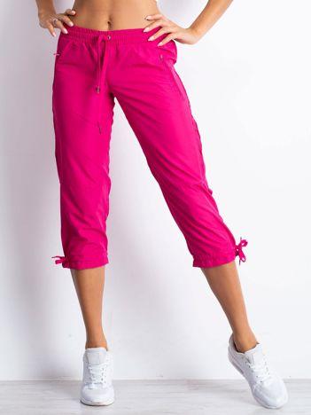 Fioletowe spodnie sportowe capri z siateczką