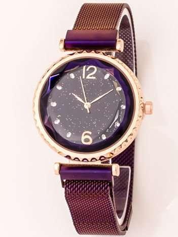 Fioletowy Zegarek Damski Z Nowoczesnym Magnetycznym Paskiem