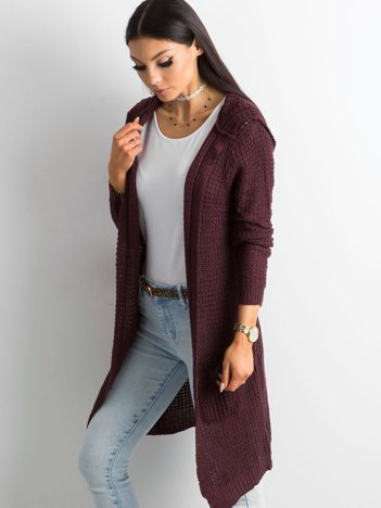 Fioletowy długi sweter z dzianiny
