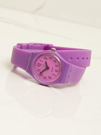 Fioletowy mały silikonowy zegarek damski owijany wokół nadgarstka