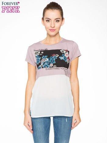 Fioletowy t-shirt z siateczkowym białym dołem