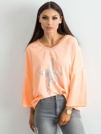 Fluo pomarańczowa luźna bluzka z nadrukiem