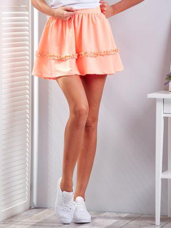 Fluo pomarańczowa warstwowa spódnica z falbanką