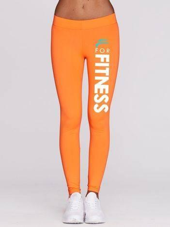 Fluo pomarańczowe długie legginsy fitness z printem na nogawce