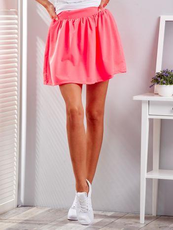 Fluo różowa rozkloszowana dresowa spódnica