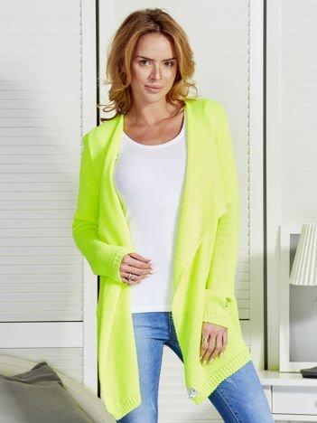 Fluo zielony sweter z kaskadowym dekoltem