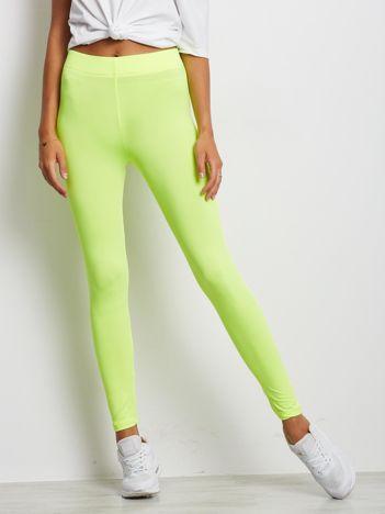 Fluo żółte długie cienkie legginsy do biegania