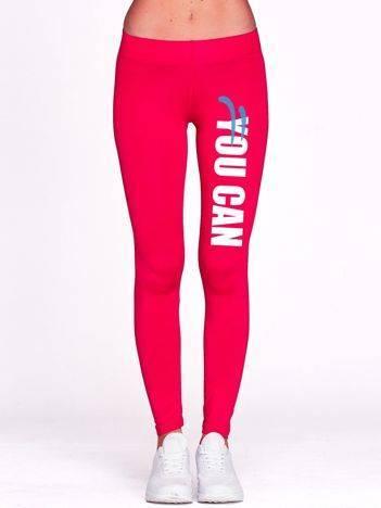 Fuksjowe długie legginsy do biegania z napisem YOU CAN