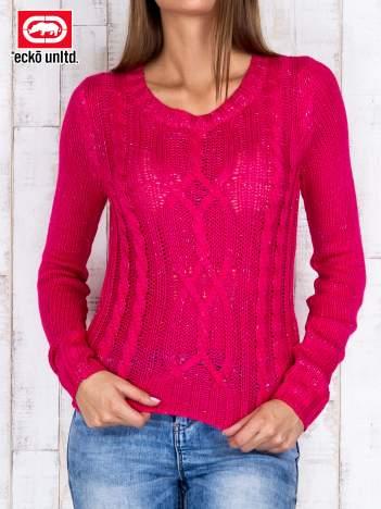 Fuksjowy sweter ze srebrną nicią