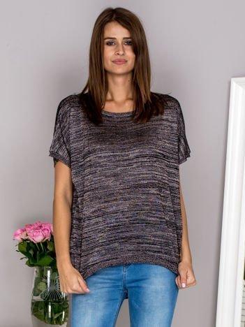 G by BACZYŃSKA Brązowy melanżowy sweter z dłuższym tyłem