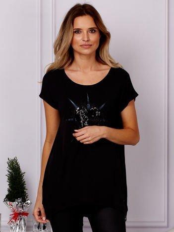 G by BACZYŃSKA Czarny t-shirt z cekinowym sercem