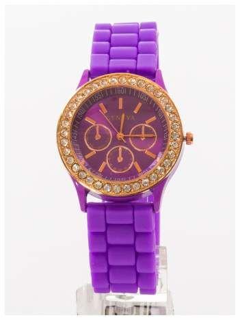 GENEVA Fioletowy zegarek damski z cyrkoniami na silikonowym pasku