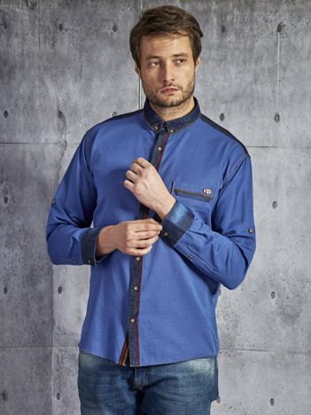 Gładka bawełniana koszula męska z ozdobną listwą niebieska