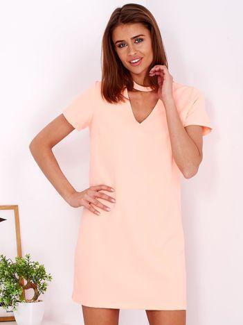 Gładka elegancka sukienka z chokerem fluo pomarańczowa