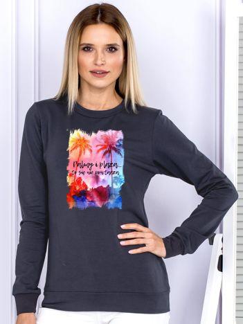 Grafitowa bluza damska PALMY I PLAŻA by Markus P