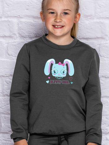 Grafitowa bluza dla dziewczynki BUNNY GIRL