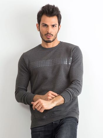Grafitowa bluza męska z aplikacją