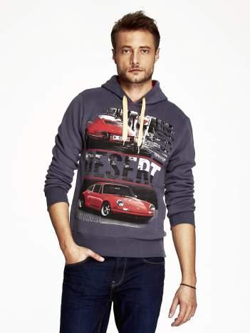Grafitowa bluza męska z samochodowym nadrukiem