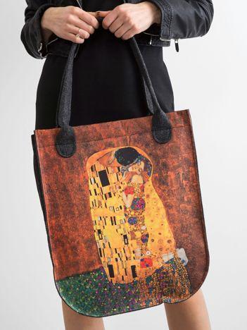 Grafitowa filcowa torba damska z nadrukiem