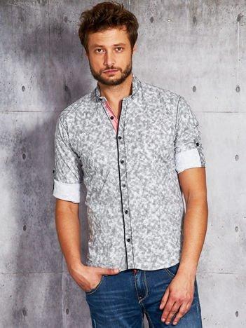 Grafitowa koszula męska w drobny wzór