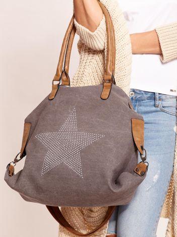 Grafitowa torba z gwiazdą z dżetów