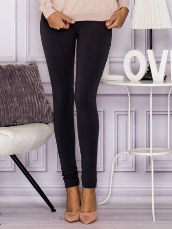 Grafitowe legginsy z elastycznym pasem