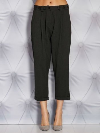 Grafitowe szerokie spodnie materiałowe w delikatny prążek