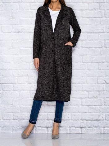 Grafitowy melanżowy płaszcz z kieszeniami