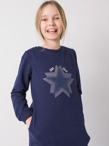 Granatowa bawełniana tunika dla dziewczynki