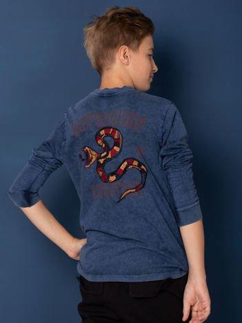 Granatowa bluzka chłopięca z nadrukiem z obu stron