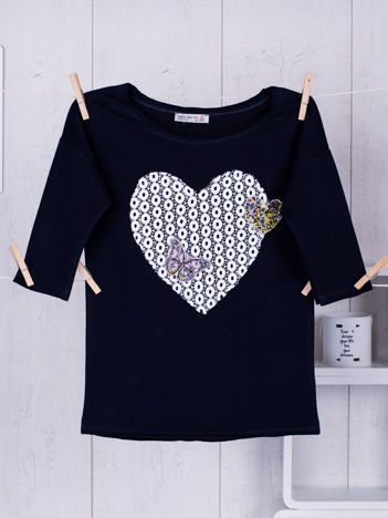 Granatowa bluzka dla dziewczynki z sercem