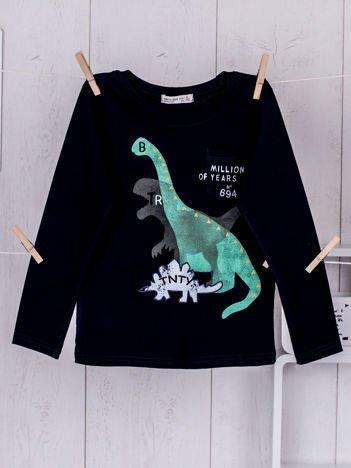 Granatowa bluzka dziecięca z dinozaurami