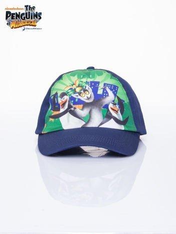 Granatowa chłopięca czapka z daszkiem PINGWINY Z MADAGASKARU