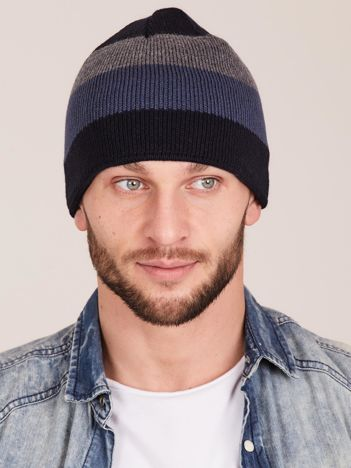 Granatowa czapka męska w paski