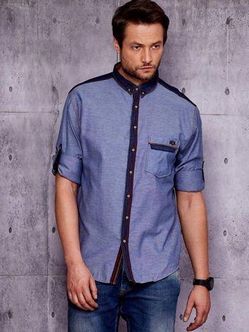 Granatowa koszula męska w delikatny deseń PLUS SIZE