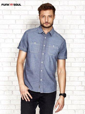 Granatowa koszula męska z kieszeniami FUNK N SOUL
