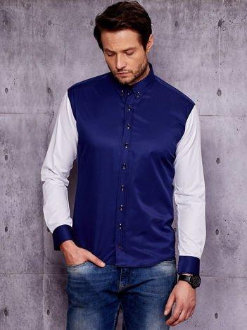Granatowa koszula męska z kontrastowymi rękawami