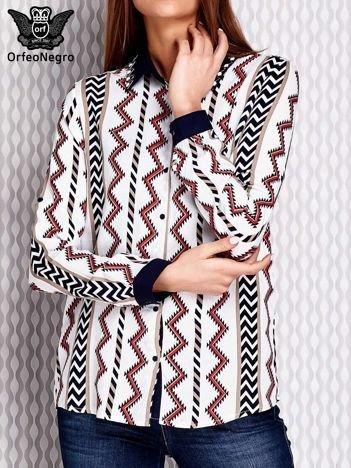 Granatowa koszula w azteckie wzory