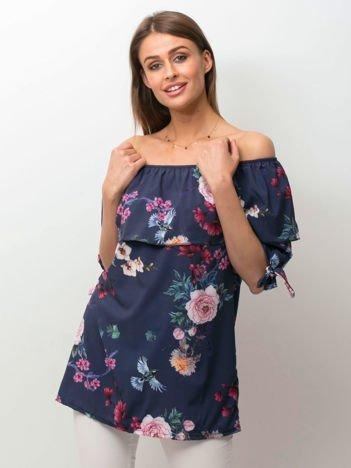 Granatowa kwiatowa bluzka hiszpanka