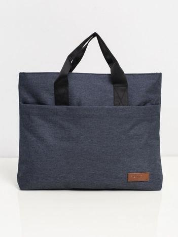 Granatowa materiałowa torba na laptopa