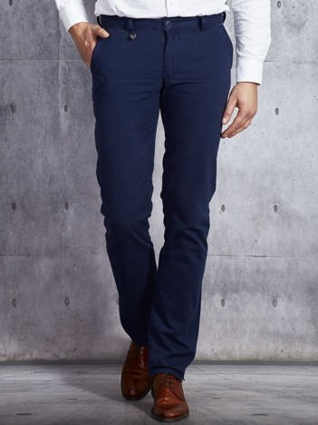 Granatowa spodnie materiałowe w delikatny prążek