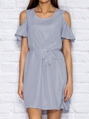 Granatowa sukienka letnia cut out w paski
