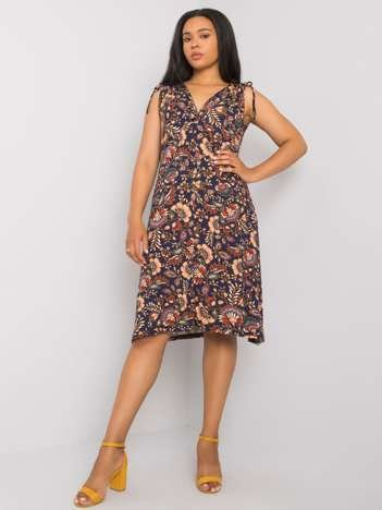Granatowa sukienka plus size z printami Hilaria